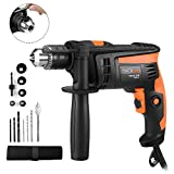 Hammer Drill, TACKLIFE 1/2-Inch Electric Drill, 2800 RPM, Hammer & Drill 2 Modes in 1, Keyed Chuck, 360Rotating Handle, 12 Pcs Accessories Set, For Brick, Wood, Steel, Masonry - PID01A