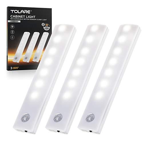 Luci LED Per Armadio, Tolare Luce Armadio Led Con Sensore Di Movimento, Ricaricabile Luci Armadio Con Striscia Magnetica Adesiva, Led Armadio Adatte Per Cucina, Scale, Sottopensile, Corridoio(3 Pack)