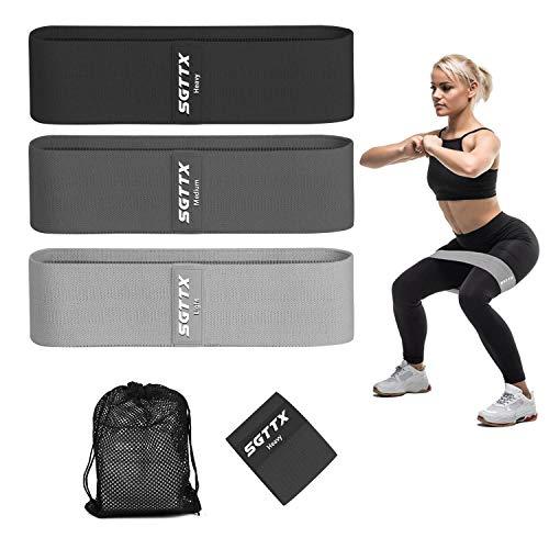 SGTTX Elastici Fitness Set Antiscivolo Bande di Resistenza con 3 Livelli di Resistenza, Fasce per Esercizi per Fianchi e Gambe per Allenamento di Forza, Yoga, Deadlift, Crossfit, Squat, Pilates