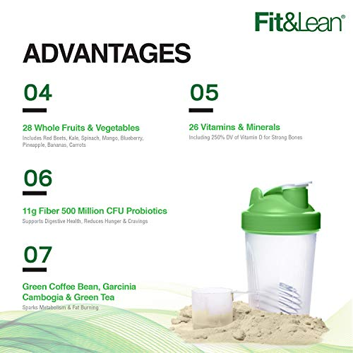 Fit & Lean Meal Shake Fat Burning Meal Replacement with Protein, Fiber, Probiotics and Organic Fruits & Vegetables and Green Tea for Weight Loss, 1lb, Chocolate, 10 Servings Per Container 5