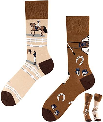 TODO COLOURS Calzini fantasia - Dressage - Calze divertenti - cavallo, corsa, competizione, torneo (39-42, Dressage)