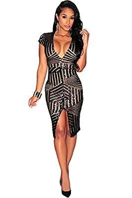 Kearia Women Short Sleeve Deep V-Neck Sequin Split Bodycon Cocktail Party Dress Deep V-Neck Sequin Split Bodycon Cocktail Party Dress Occasion: party, club, evening, prom,cocktail,gown Size:label S=US S, label M=US M, label L=US L, label XL=US XL, la...