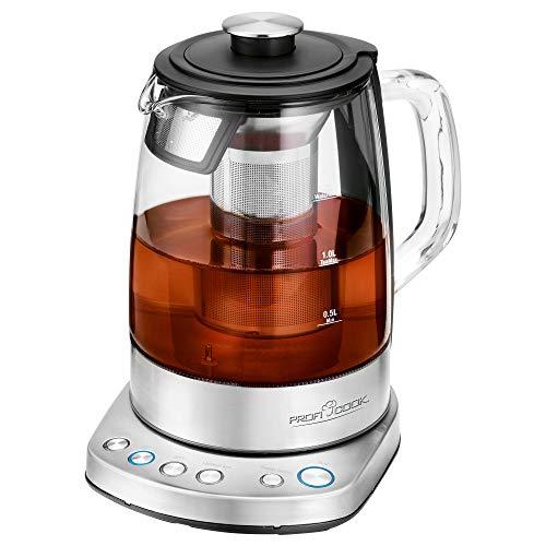 ProfiCook PC-WKS 1167 G, 2in1 Tee- und Wasserkocher, kostenlose App, programmierbare Temperaturregelung, Glas-/Edelstahlgehäuse, 1.5 Liter