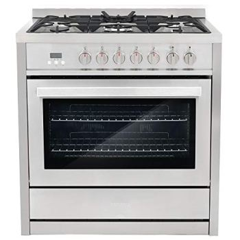 """Cosmo COS-F965NF 36"""" Dual Fuel Range with 5 Burners and 3.8 cu. ft. Electric Convection Oven in Stainless Steel"""