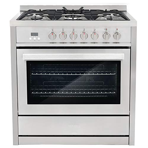 Cosmo COS-F965NF 36' Dual Fuel Range with 5 Burners and 3.8 cu. ft. Electric Convection Oven in Stainless Steel