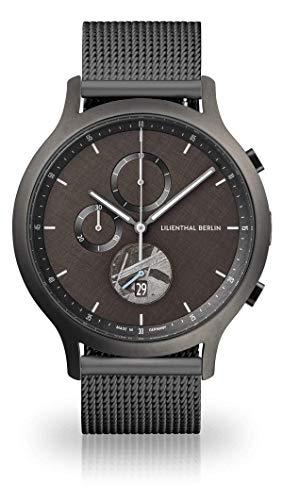 Lilienthal Berlin Chronograph Armbanduhr (Gehäuse: grau/Zifferblatt: grau/Armband: mesh grau)