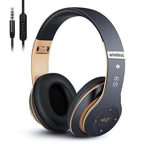 6S Wireless Headphones Over Ear, [52 Hrs Playtime] Hi-Fi Stereo Foldable Wireless Stereo Headsets Earbuds with Built-in Mic,Volume Control, FM (Black & Gold)