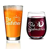 Godparents Announcement - Personalized Godparent Gift,Godmother Wine Glass, Baptism Gift for Godparent, Christening