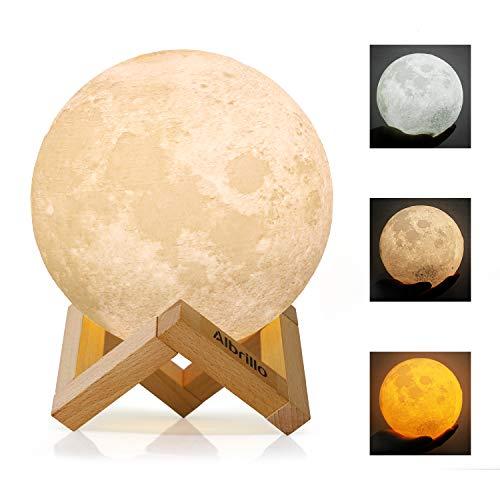 Albrillo LED Mond Lampe - 15cm 3D Mondlicht mit Touch Sensor, 3 Farbe Auswählbar und dimmbar...