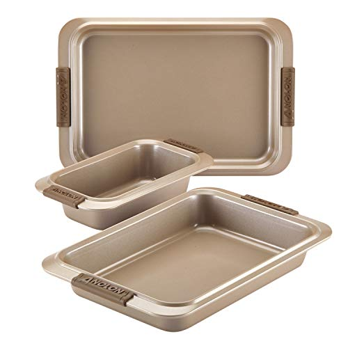 Anolon Advanced Nonstick Bakeware Set with Grips includes Nonstick Bread Pan, Cookie Sheet / Baking Sheet and Baking Pan - 3 Piece, Bronze Brown