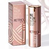 """GEPRÜFT """"SEHR GUT"""" RETINOL LIFT Serum hochdosiert   Retinol Creme mit 4-fach anti-falten Wirkung: Vitamine + Hyaluronsäure + straffende Peptide + Kupfer. Anti Aging Made in Germany von NeverWithout"""