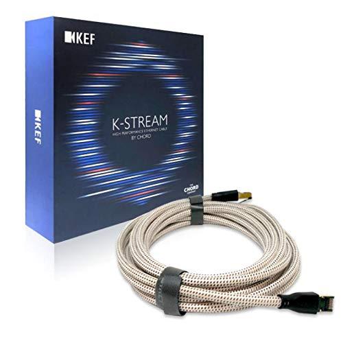 KEF K-Stream Ethernetkabel Weiss Kupfer Stück, High End Ethernetkabel |Chord Kabel | 6 Meter | 24 Karat Gold (Weiss/Kupfer)