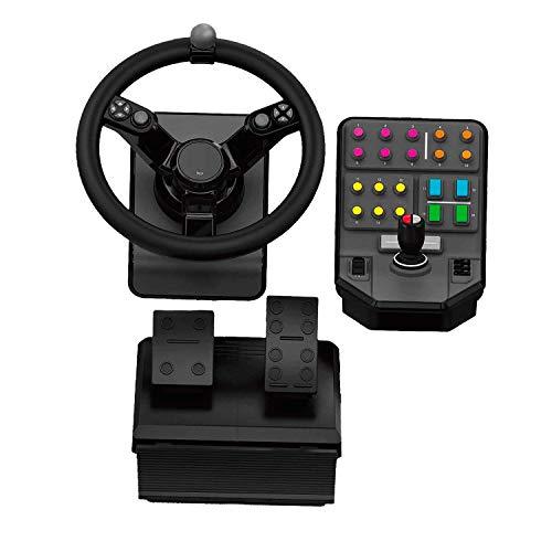 Logitech G Landwirtschafts-Simulator Bundle für schwere Maschinen (2. Generation), Lenkrad-Controller für Farming-Simulator 19 (oder früher) – Lenkrad, Gas- und Bremspedale, Seitenkonsole für PC/PS4