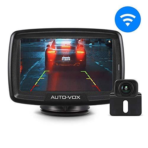 AUTO-VOX CS-2 Telecamera Retromarcia Wireless Digitale, Impermeabile IP68, Visione Notturna, Monitor da 4.3', Trasmettitore Integrato