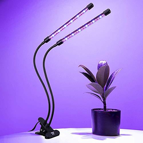 TaoTronics Pflanzenlampe 36 LED 28W Pflanzenleuchte 2 Heads Wachsen Licht Wachstumslampe für Zimmerpflanzen mit 6 Dimmstufen
