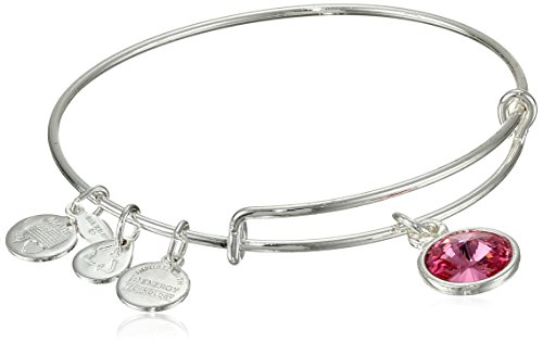 Alex and Ani 'Bangle Bar' October Imitation Birthstone Shiny-Silver Tone Expandable Bracelet