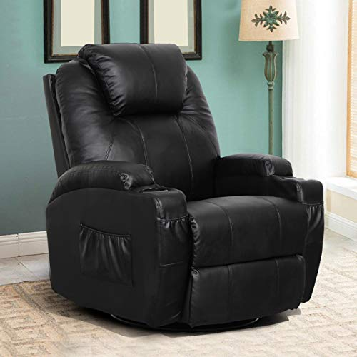Esright Massage Recliner Chair Heated PU Leather Ergonomic Lounge 360 Degree Swivel, 1 Chair, Black