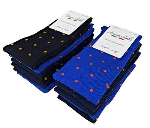 DREAM SOCKS 6 paia calze lunghe da uomo in cotone filo di scozia elasticizzate,calze lunghe molto leggere made in italy rimagliate a mano, disponibili vari assortimenti (43/46, set.pois)