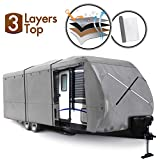XGEAR Travel Trailer RV Cover Water-Repellent Fabric with Thick 3-ply Top Windproof Buckles & Adhesive Repair Patch (20'-22')