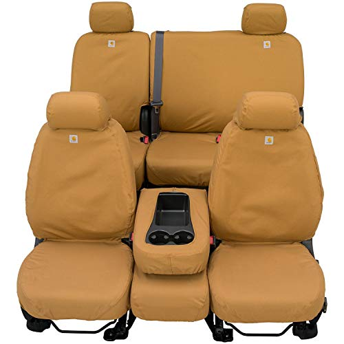 Covercraft Carhartt SeatSaver Front Row Custom Fit Seat Cover for Select Ford Models - Duck Weave (Brown)