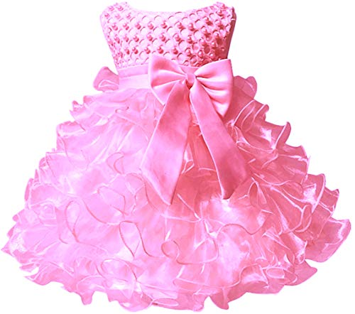 Baby Girl Party Dresses Ruffle Lace Pageant Wedding Flower Little Girl Dress Pink 24 Months