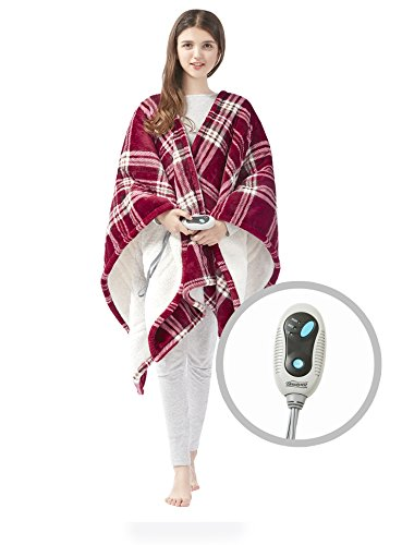"Beautyrest Ultra Soft Sherpa Berber Fleece Electric Poncho Wrap Blanket Heated Throw with Auto Shutoff - 5 Years Warranty, 50"" W x 64"" L, Red Plaid"
