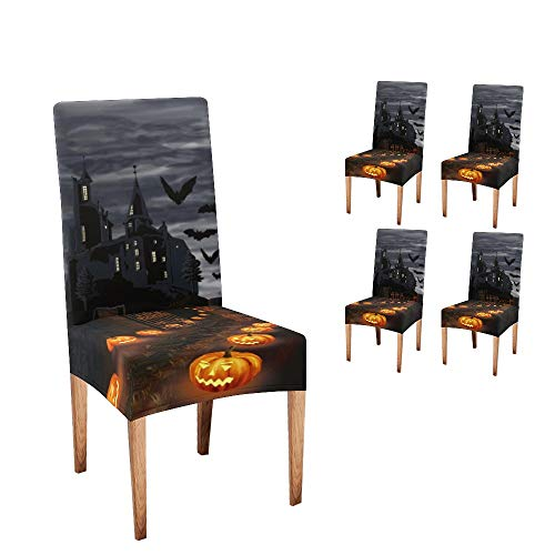 CUXWEOT Chair Covers for Dining Room Halloween Pumpkin Full Moon Slipcovers Seat Covers for Party Decor (Set of 4)