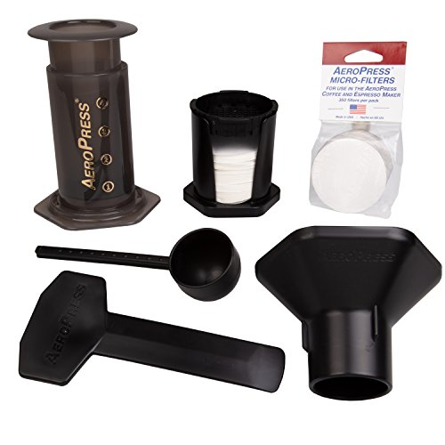 AeroPress Coffee and Espresso Maker with Tote Bag and 350 Additional Filters - Quickly Makes Delicious Coffee Without Bitterness - 1 to 3 Cups Per Press 6