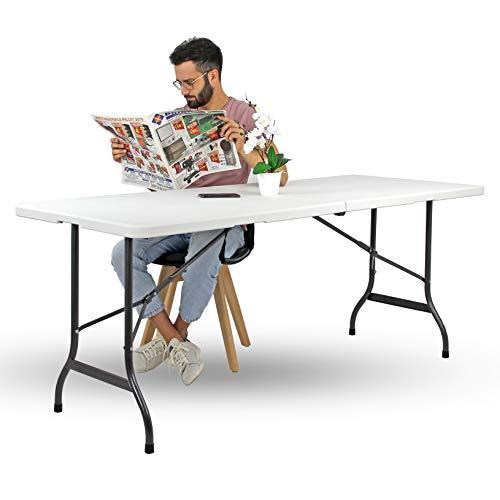 Brigros - Tavolo Pieghevole da Giardino Bianco Perfetto Come Tavolo da Campeggio, da Buffet, da...