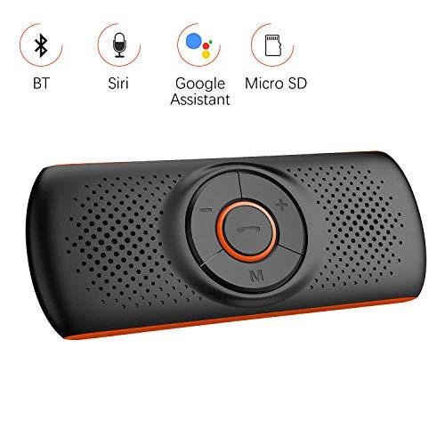 Aigoss Mains Libres pour Voiture Bluetooth Kit avec Siri et Google Assistant de Voiture Haut-Parleur sans Fil pour Visière, Connexion de 2 Téléphones Simultanément