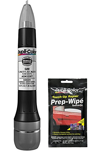 Dupli-Color AGM0387 Pure White Exact-Match Scratch Fix All-in-1 Touch-Up Paint for GM Vehicles (521,12, WA 5111) Bundle with Prep Wipe Towelette (2 Items)