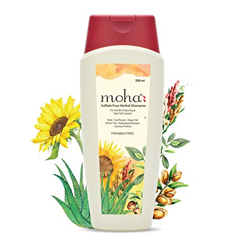 MOHA Herbal Hair Shampoo 200 ML, Sulfate-Free Mild Shampoo For Daily Use For All Hair Types With Goodness of Proven Herbs For Gentle Hair Cleansing & Hair-Fall Control.