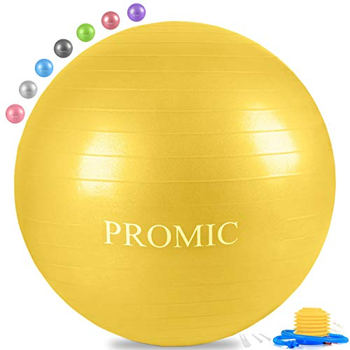 PROMIC Exercise Ball (65 cm) with Foot Pump, Professional Grade Anti Burst & Slip Resistant Stability Balance Yoga Ball for Yoga, Workout, Cardio Drumming, Classroom, Work Ball Chair (Yellow)