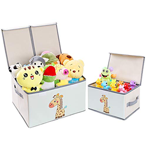 DIMJ Toy Chest with Lid, Large Kids Toy Storage Box Decorative Toy Organizers Fabric Storage Bins with Handles for Boys, Girls, Nursery, Clothes, Toys, Books, Shelves, Home Organization 2 Pack