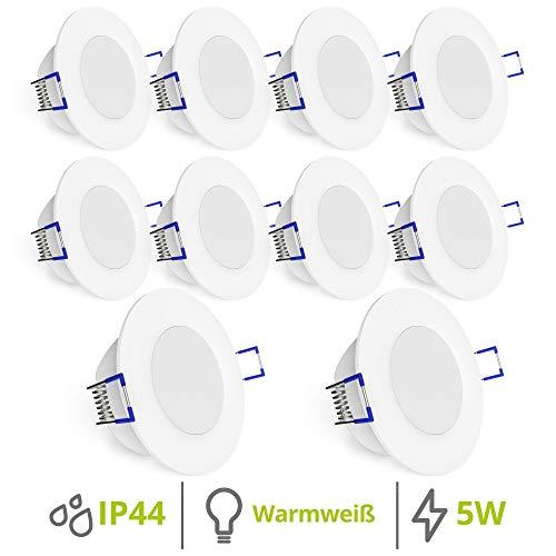 linovum WEEVO IP44 LED Einbauleuchten 10er Set extra flach - Downlight in warmweiß 2700K 5W für Bad, Küche, Möbel oder außen
