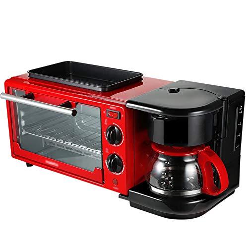 Toaster,Edelstahl Toaster,3-in-1-frühstück Maschine Kaffeekanne+Teppanyaki+Backofen Back Back Maker Brot Toaster,30 Minuten Timing/Spiegelei/Kaffee Kocher-Rot