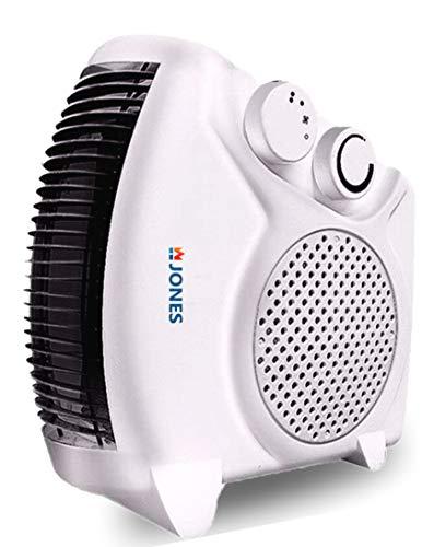 Jones Heat Flow Dlx 2000W Temperature Controlled Fan Room Heater - White
