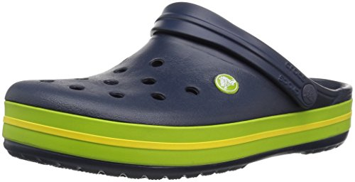 Crocs Crocband Clogs, Ciabatte Unisex, Gomma Adulto, Blu (Navy/Volt Green/Lemon), 41-42 EU