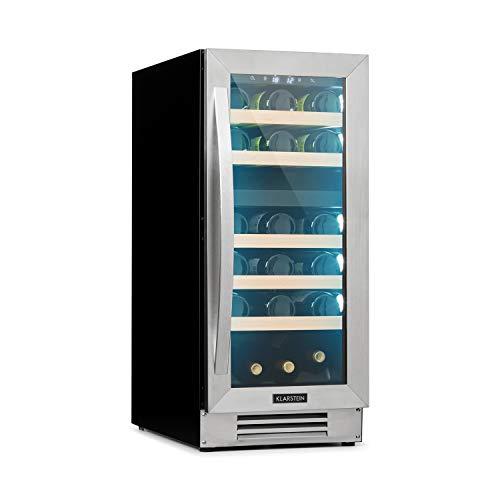 Klarstein Vinovilla - Built-In Duo Cantinetta Vini, Incasso, 2 Zone, 29 Bottiglie/74 L, Sopra: 5-12 C/Sotto: 12-20 C, Sportello in Vetro, Illuminazione Interna in 3 Colori, Classe B, Inox, Argento