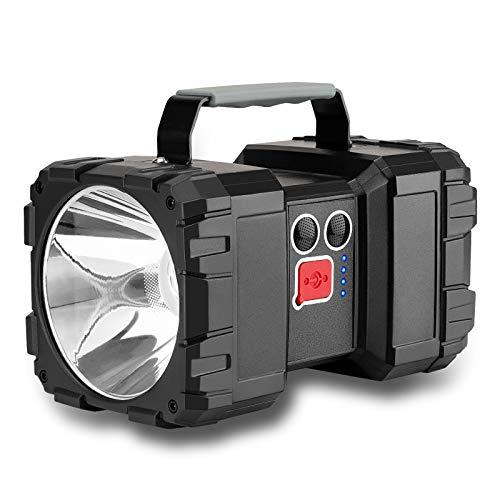 Lmaytech LED Rechargeable Flashlight, Double Head Spotlight Work Light with High Lumen 5000mAh Handheld Flashlight Flood Light with 3+4 Light Modes (Small)