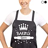 Cakes of Eden Unique and Funny Baking Aprons - Baking Queen (Black)