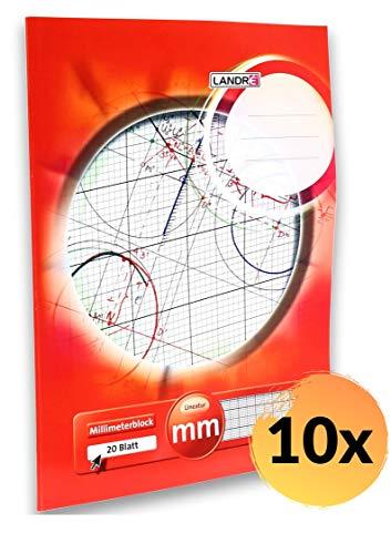 Landre 100050433 - Blocco di carta millimetrata A3, 10 pezzi, 80 g/mq, 20 fogli incollati sulla testa, rigatura rossa