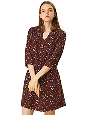 3/4 Sleeves, V Neck, Stylish Floral Print, Half Button Cuffs, Elastic Waist, Side Pockets, Above Knee Length A lively choice with a bit of swing, this fresh vintage floral dress in a daisy floral print covers the day-to-evening bases, with the additi...