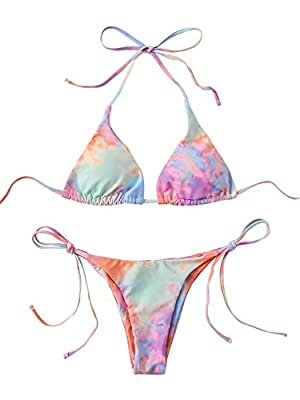 Features: Halter neck strap, backless, tie dye print, triangle bikini top, tie side bikini bottom. Before Order: Please select your size based on the measurements as below. Material: Smooth fabric bikini swimsuit sets are very stretchy,comfortable an...