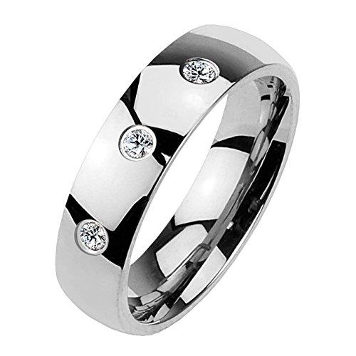 Paula & Fritz Klassischer Dom Ring aus Chirugenstahl Edelstahl 316L silber 4mm breit mit drei Zirkonia 47 (15)