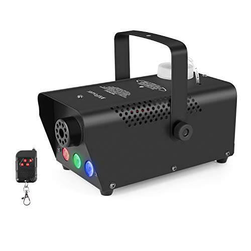 MVPOWER 500W Mini Nebelmaschine, tragbare Nebelmaschine, mit drahtloser Fernbedienung und 7-Farben-LED-Licht, verwendet für Halloween Party Festival Hochzeitsclub DJ Bar Bühne, 350ML, schwarz