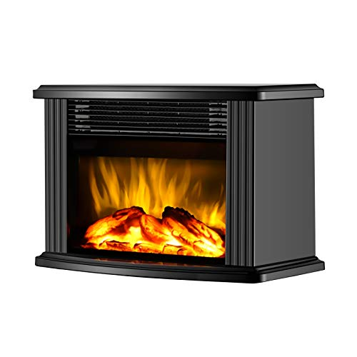 DONYER POWER 14' Mini Electric Fireplace Tabletop Portable Heater, 1500W, Black Metal Frame,Room Heater,Space Heater