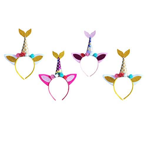 Amosfun 4 pçs faixa de cabelo de tiara com cauda de sereia de unicórnio e orelhas de gato com flores fantasia de sereia temática de aniversário brindes de festa