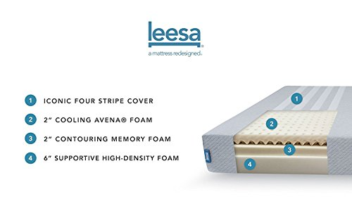 Leesa 10' Memory Foam Mattress in a Box, Luxury CertiPUR-US Certified 3 Layer Foam Construction, Queen, Gray & White