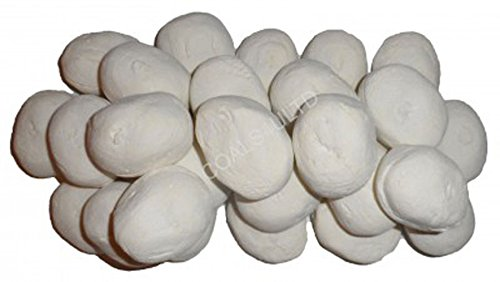 20 White Ceramic Pebbles For Bio Ethanol and Gas Fireplaces In Branded Coals 4 You Packaging, Black